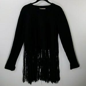 Moon River black fringe hem sweater size M